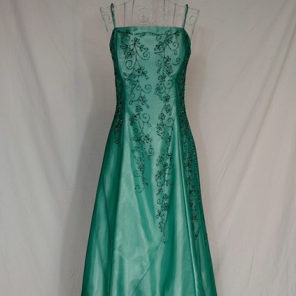 Vintage Dresses | 90s Green Formal Beaded